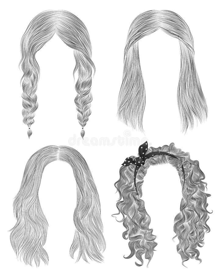 Set long woman hairs  . black  pencil drawing sketch . women fashion beauty style.  fringe curls cascade  plaits bow royalty free stock photos
