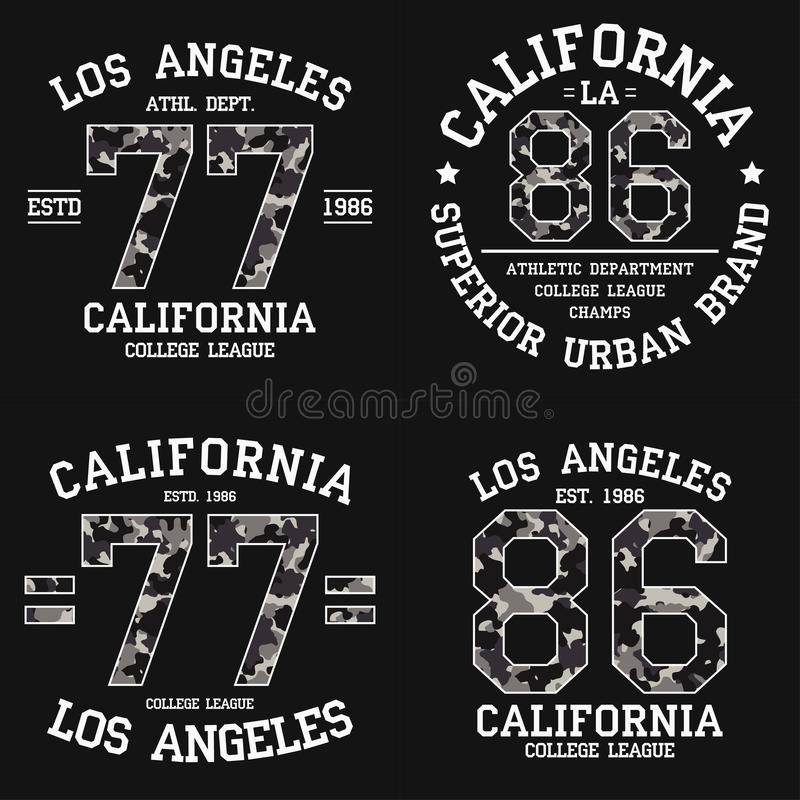 Set of Los Angeles graphic design for t-shirt with camouflage texture. California tee shirt print with slogan. LA apparel. Vector. Set of Los Angeles graphic royalty free illustration
