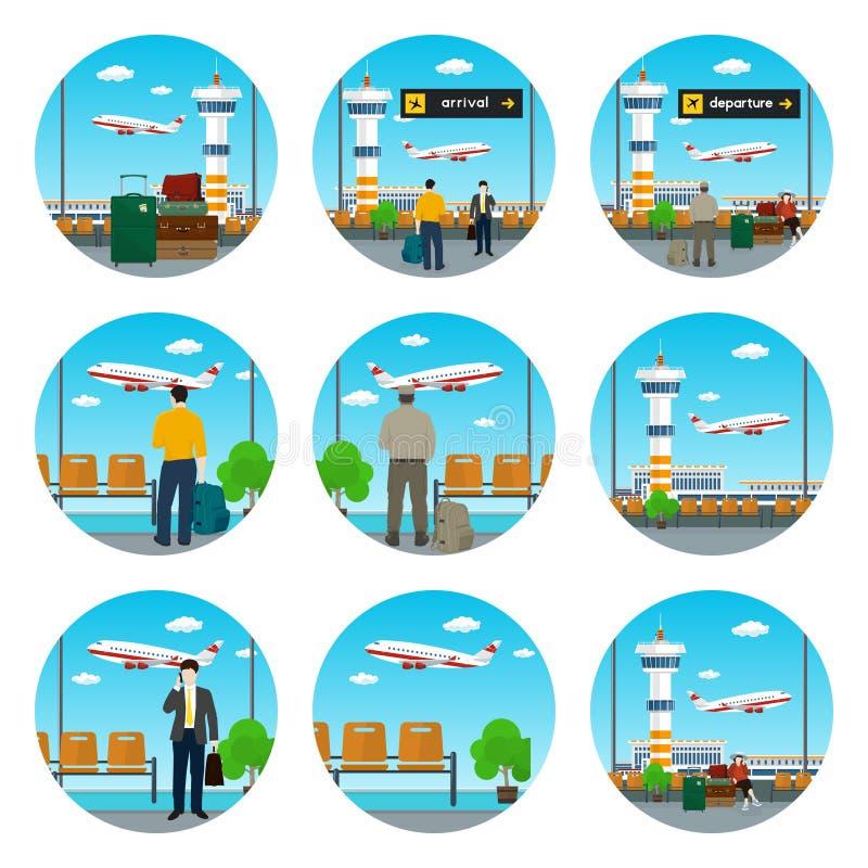 Set lotniskowe ikony ilustracja wektor