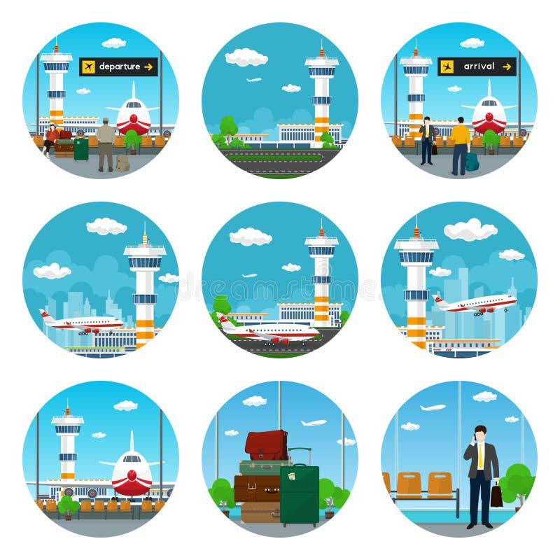 Set lotniskowe ikony royalty ilustracja