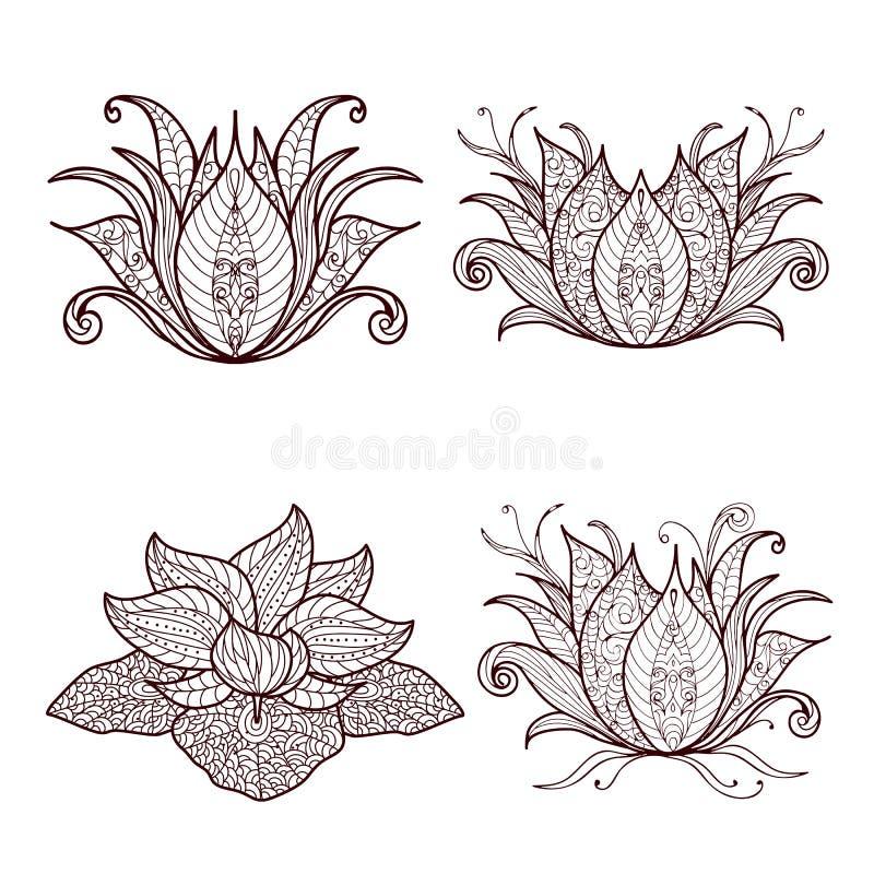 Set of lotus flowers. Hand drawn set of henna flower lotus elements,yoga design.Mehendi Tattoo Doodles collection, monochrome, meditation aura.Vector stock illustration