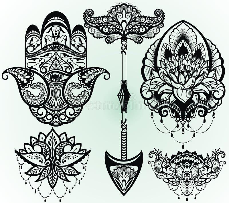 A set of lotus, hamsa,arrow. Decoration in ethnic oriental style on white background stock illustration