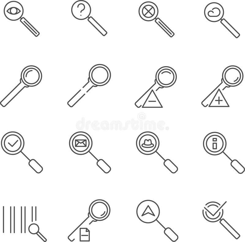 Set loupe linii wektoru ikony obraz stock
