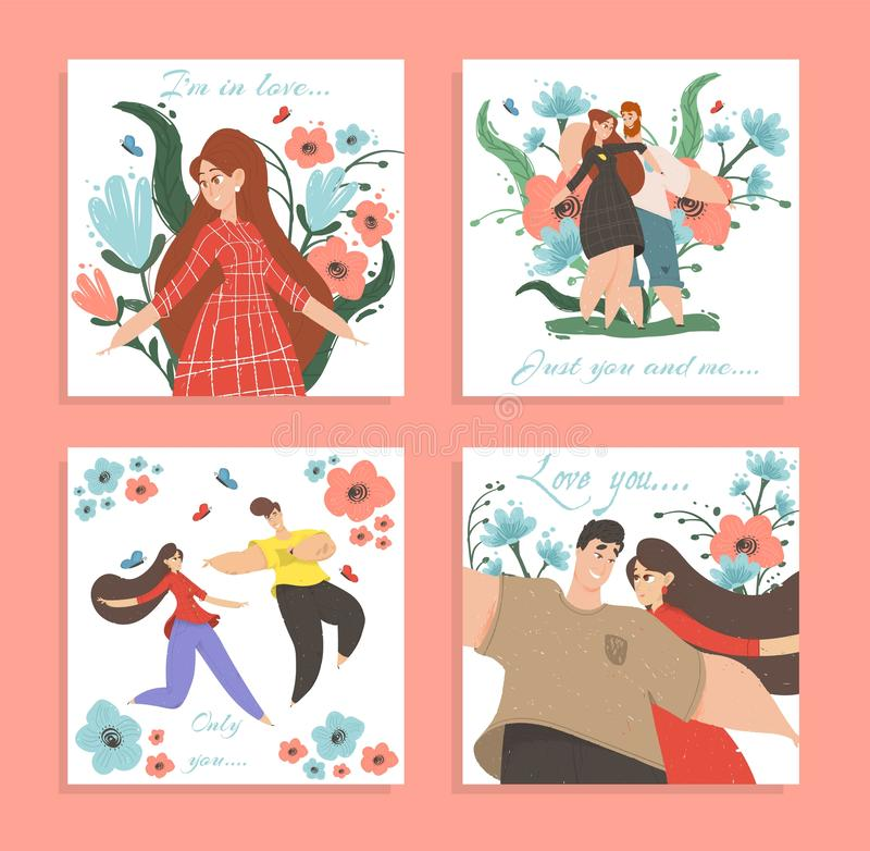 Set of Love Banners or Greeting Cards Happy Couple. Set Love Banners or Greeting Cards. Happy Loving Couple Man and Woman Enjoying Romantic Relations Walking and royalty free illustration