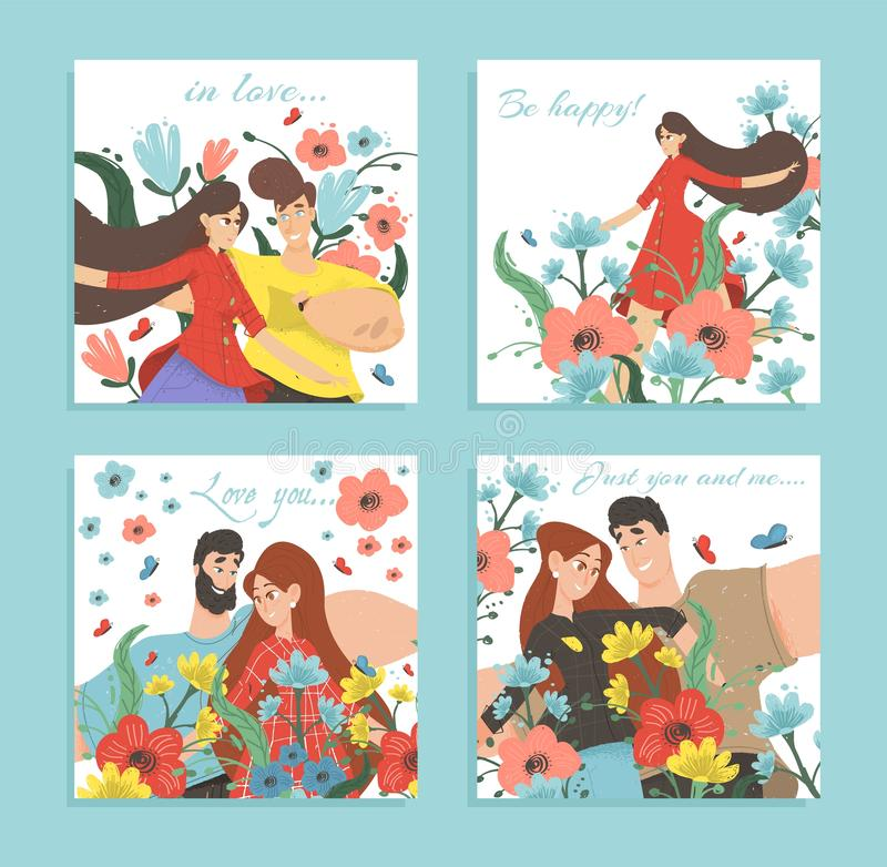 Set of Love Cards or Romantic Banners Happy Couple. Set of Greeting Cards or Romantic Banners. Happy Couple in Love Portrait. Young Man and Woman Enjoying royalty free illustration