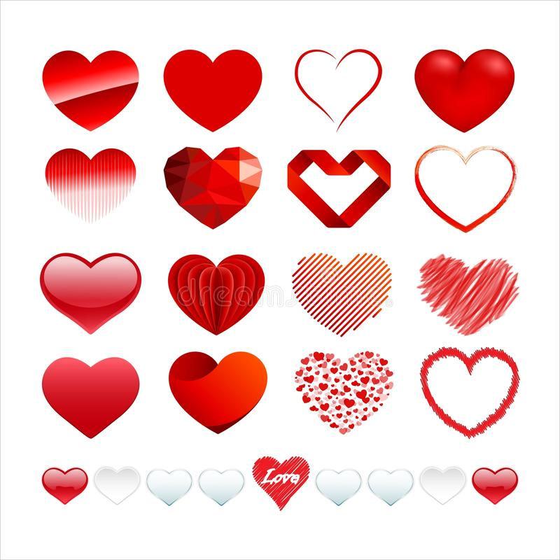 Set of love and heart logo collection. Vector royalty free illustration