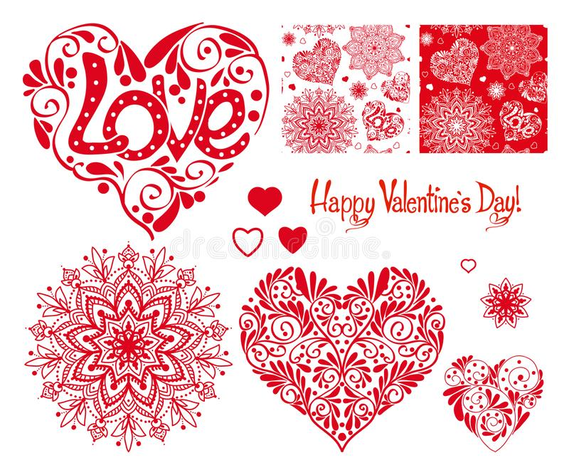 Set of Love heart with pattern, mandalas and seamless patterns f stock illustration