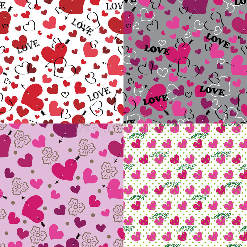 Download Set Of Love Seamless Pattern Or Background With Hearts Stock Vector