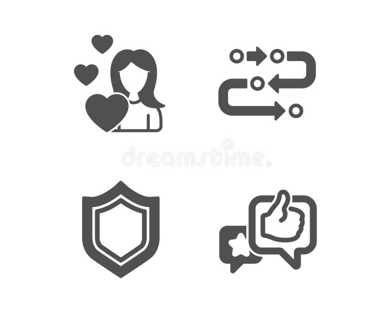 Love, Security and Methodology icons. Like sign. Woman in love, Protection shield, Development process. Vector. Set of Love, Security and Methodology icons. Like royalty free illustration