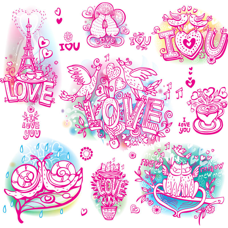 Set of love sketchy. Set of hand drawn love sketchy stock illustration