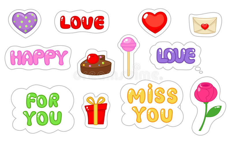 Set of love sticker. Flat and cartoon style. Vector illustration on white background. royalty free illustration