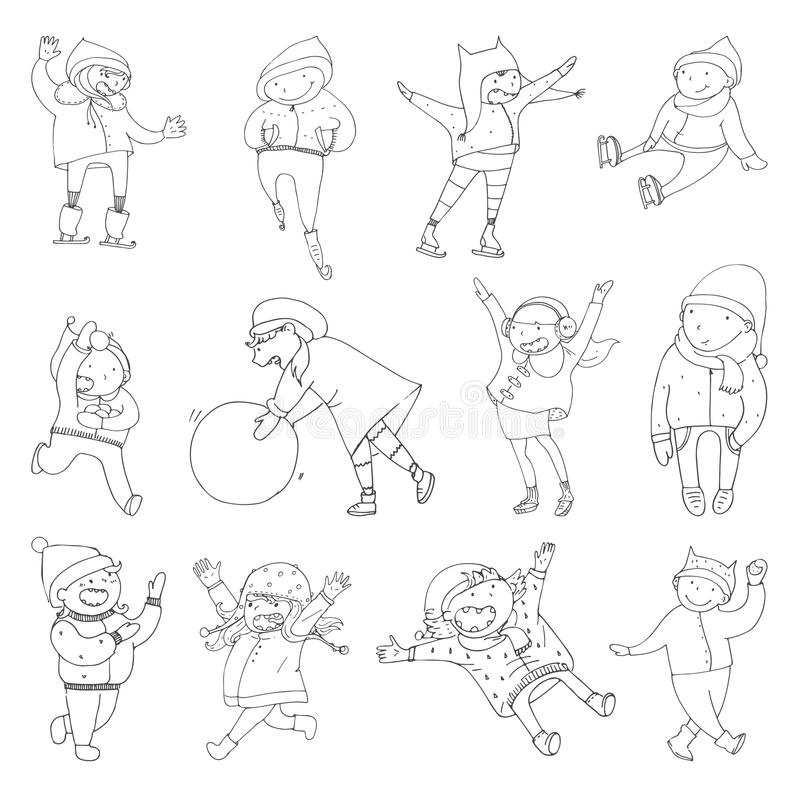Set with lovely kids playing in winter clothes. Outdoor activities, happy doodle children in hand drawn style. stock illustration