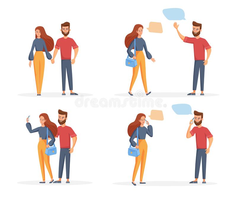 Set of a loving young couple man and woman. Meet, make a selfie, talk on the phone. Vector illustration in a flat style royalty free illustration