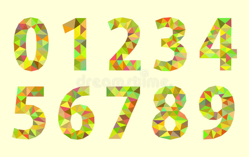 Set low poly digits numbers with a green tint royalty free illustration