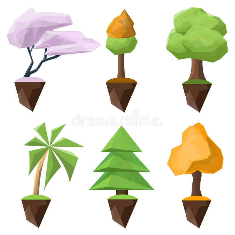 Set of low-poly and isometric vector trees on a white background stock illustration