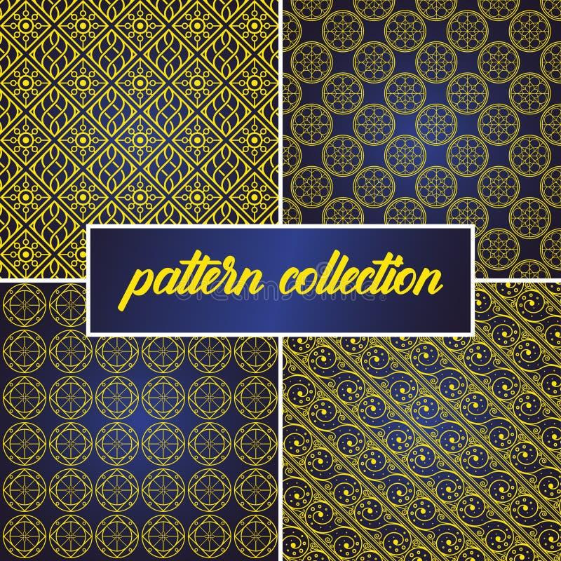 Set lub kolekcja deseniowy tło w języka arabskiego stylu bezszwowy i abstrakcjonistyczny, możemy używać dla Ramadan kareem i eid  royalty ilustracja