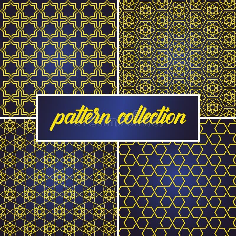 Set lub kolekcja deseniowy t?o w j?zyka arabskiego stylu bezszwowy i abstrakcjonistyczny, mo?emy u?ywa? dla Ramadan kareem i eid  royalty ilustracja