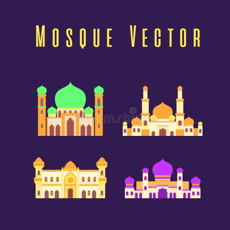 Set lub kolekcja islamski meczet odizolowywaliśmy płaskiego projekt z pastelowym kolorowym, wektorowym ilustracyjnym meczetem dla royalty ilustracja