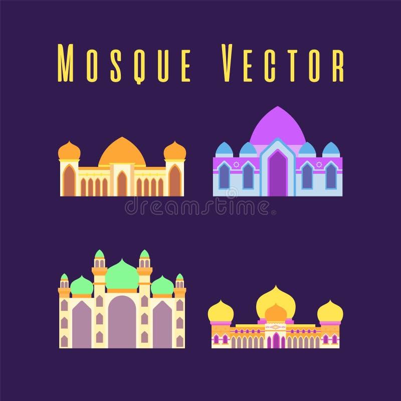 Set lub kolekcja islamski meczet odizolowywali?my p?askiego projekt z pastelowym kolorowym, wektorowym ilustracyjnym meczetem dla royalty ilustracja