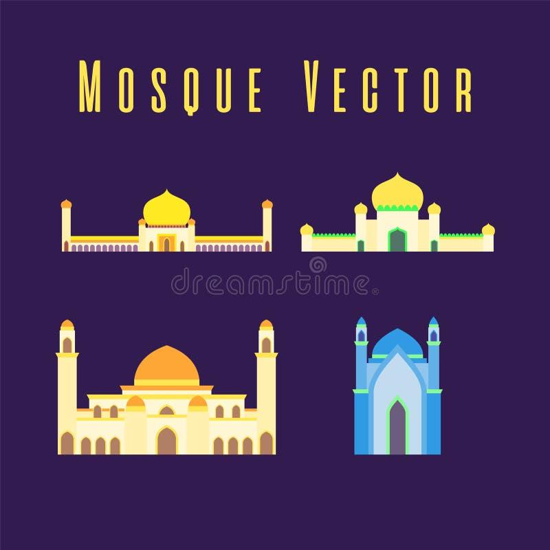 Set lub kolekcja islamski meczet odizolowywali?my p?askiego projekt z pastelowym kolorowym, wektorowym ilustracyjnym meczetem dla ilustracji