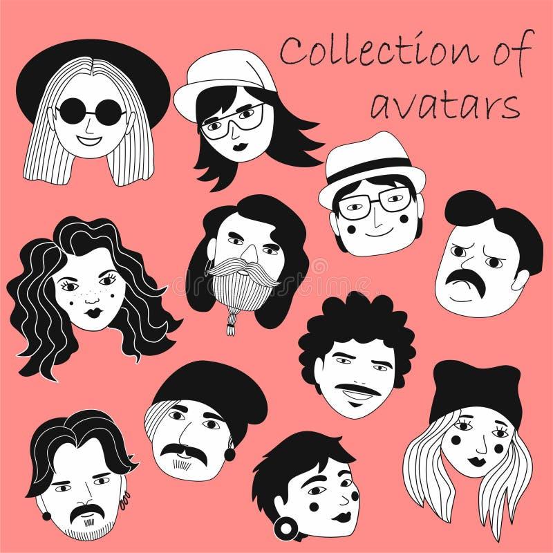 Set ludzie avatars w mieszkanie stylu Portrety różnorodni mężczyźni i kobiety Modne czarny i biały ikony inkasowe Wektorowy illus ilustracja wektor