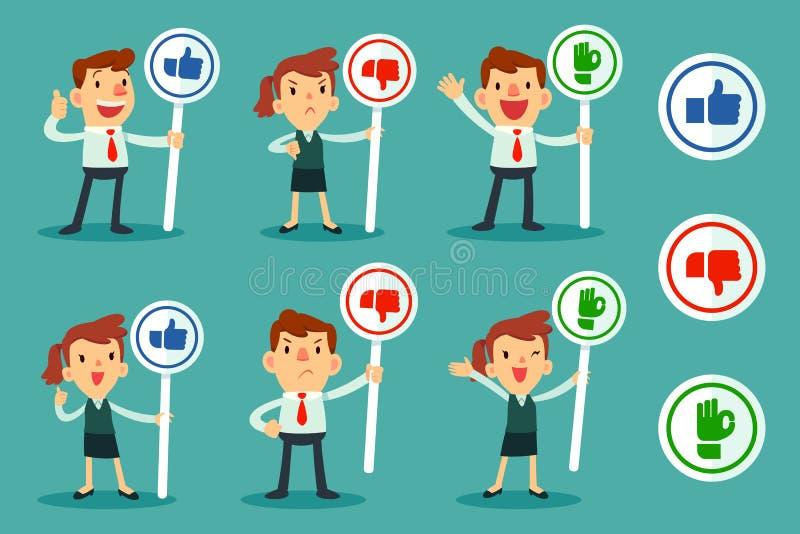 Set ludzie biznesu trzyma znaka ilustracja wektor