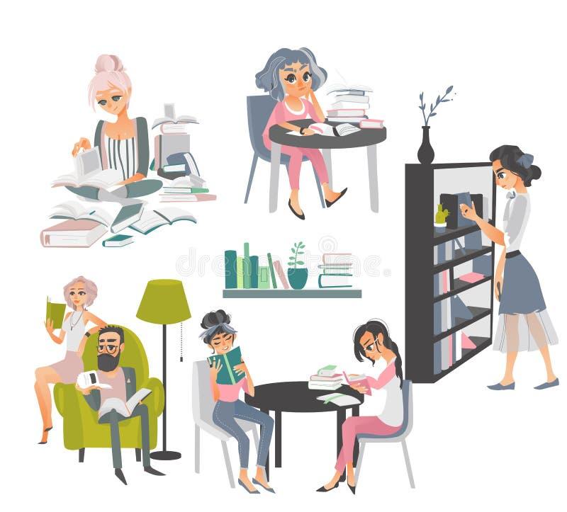 Set ludzie czytelniczych książek w bibliotece ilustracji