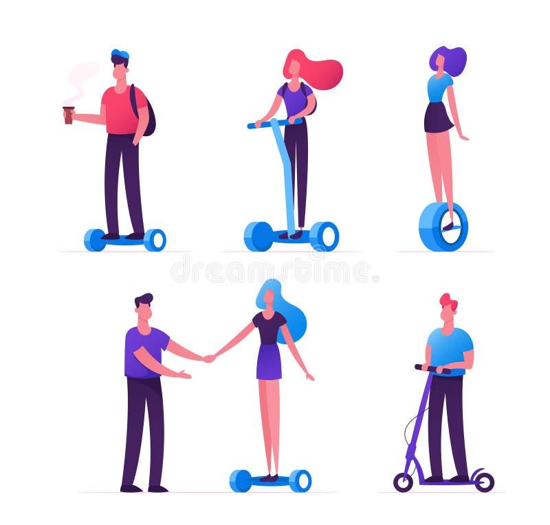 Set ludzie Jedzie ekologia transport jako hulajnoga Hoverboard Monowheel Nastolatkowie, mieszkaniec miasta Męscy i Żeńscy ilustracja wektor