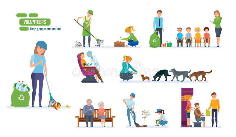 Set ludzie pomaga starszych osob, zwierząt, flancowania i cleaning miastu, royalty ilustracja