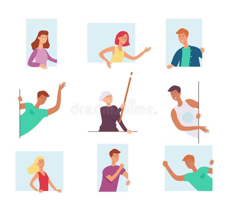 Set ludzie, przyglądający za okno i wyrażać silne emocje, krzyk i macha ich ręki ilustracja wektor