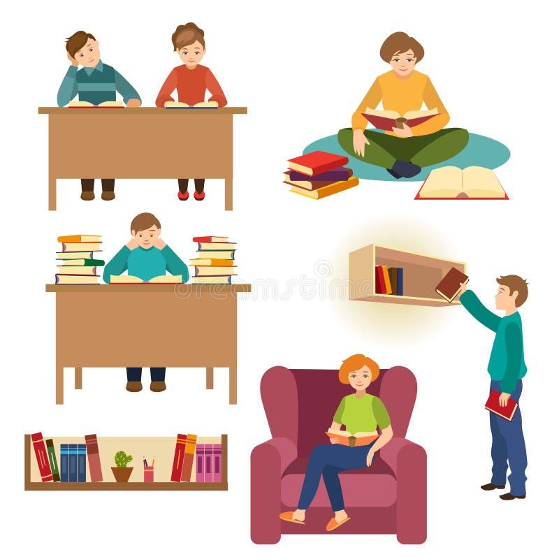 Set ludzie, uczeń czytelnicze książki w bibliotece ilustracja wektor