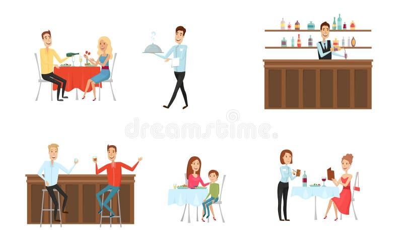 Set ludzie w restauraci przy barem i Mieszkania i kreskówki styl różny tło również zwrócić corel ilustracji wektora ilustracja wektor