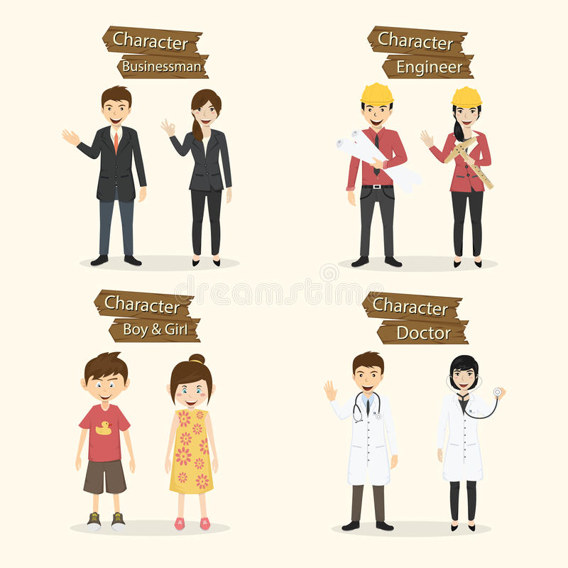 Set ludzie zajęcie charakterów wektoru ilustraci ilustracja wektor