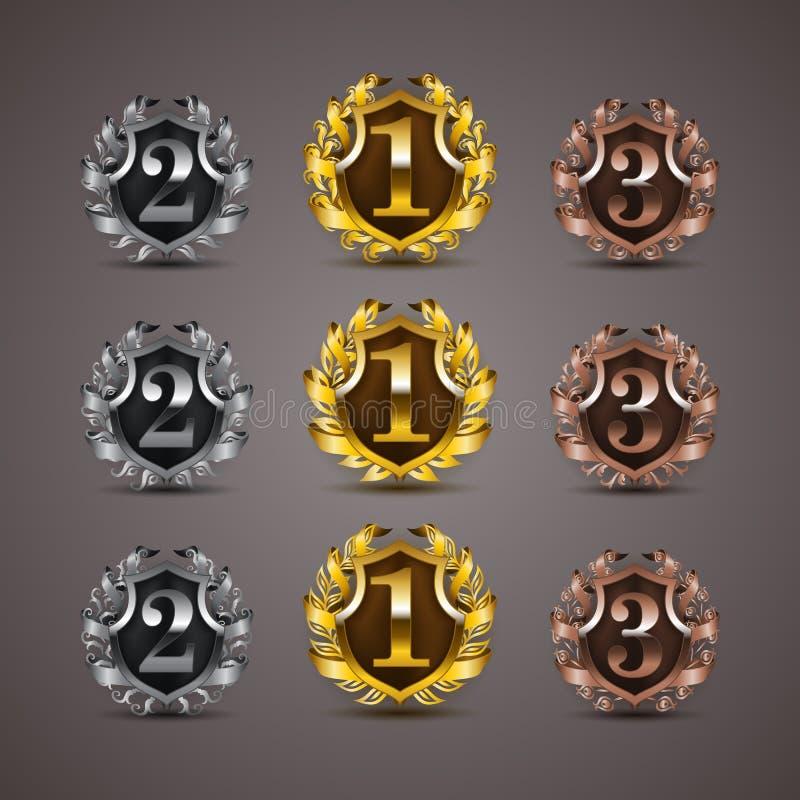 Set luksusowe złote osłony ilustracji