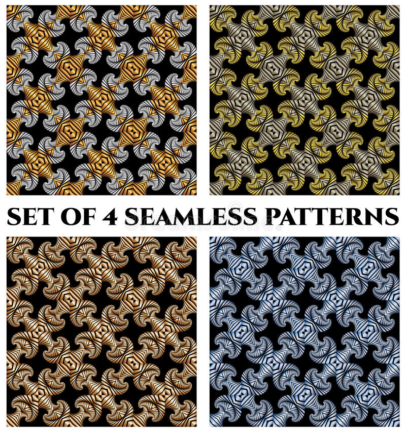Set 4 luksusowego bezszwowego wzoru z złotym, osrebrza, brąz i błękitny kruszcowy fractal ornament na czarnych tło royalty ilustracja