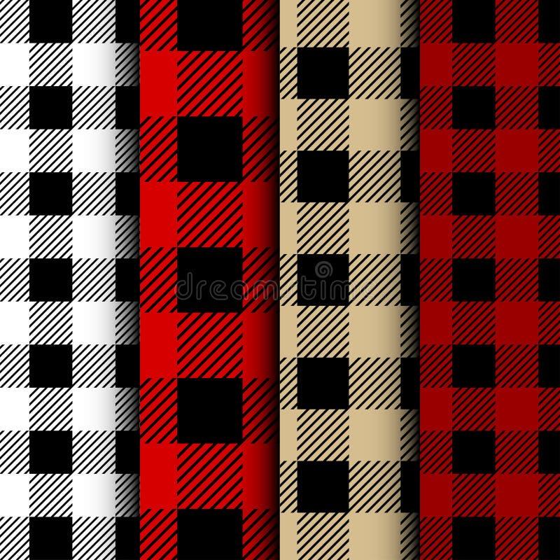 Set Lumberjack Bawoliej szkockiej kraty Bezszwowy wzór Czerwony i Czarny Lumberjack ilustracji