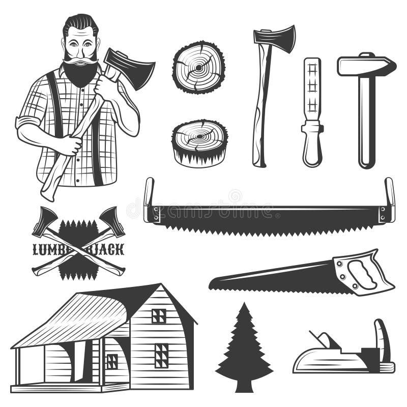 Set of lumberjack monochrome icons, design elements on white background. Woodsman vector illustration