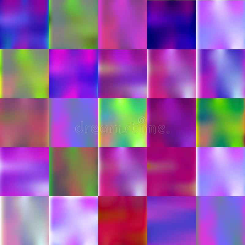 Set luminescent gradient colorful glow backgrounds. stock illustration