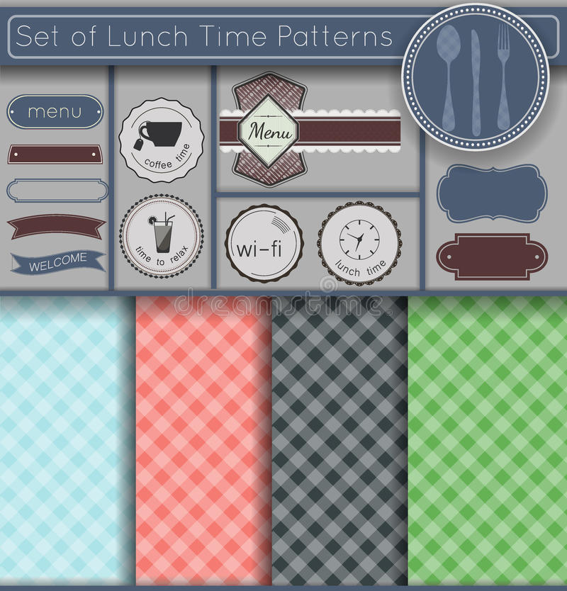 Set lunchu czas Patternsz3 ilustracji