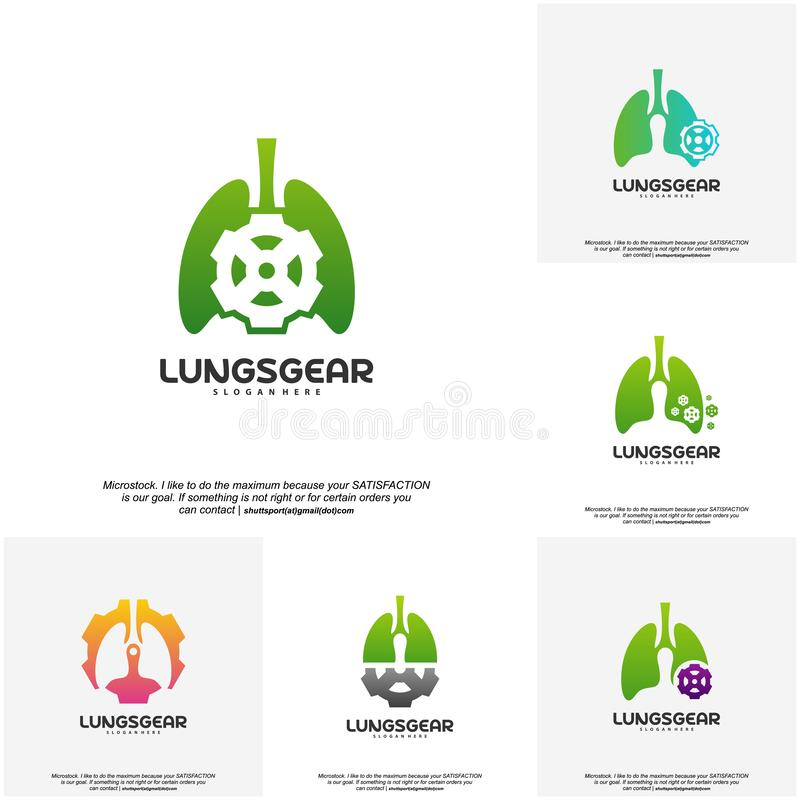 Set of Lungs Gear logo designs vector, Lungs With Gear designs template logo vector illustration