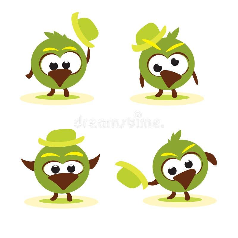 Set lustige Karikaturvögel mit Hut vektor abbildung
