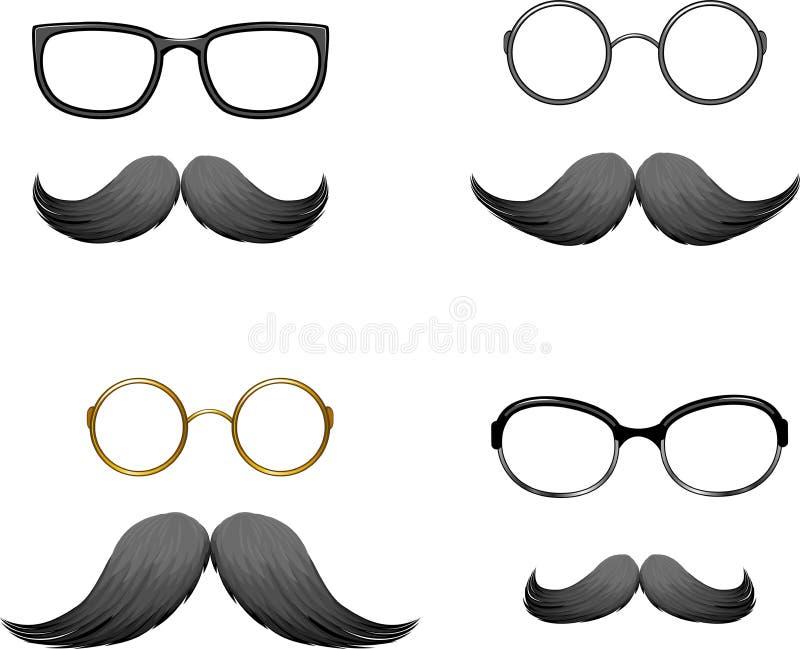 Set lustige Schablonen (Schnurrbart und Gläser) vektor abbildung
