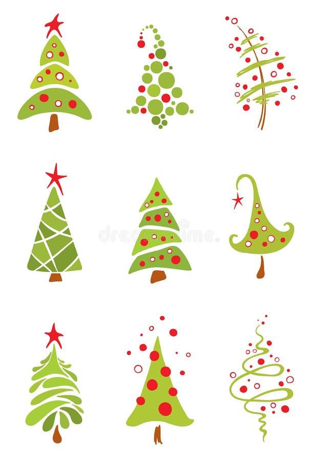 Set lustige Weihnachtsbäume vektor abbildung