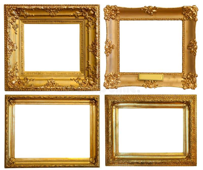 Set of Luxury gilded frames stock image