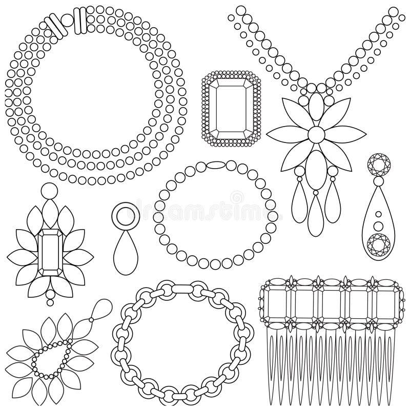 Set of luxury jewels royalty free illustration