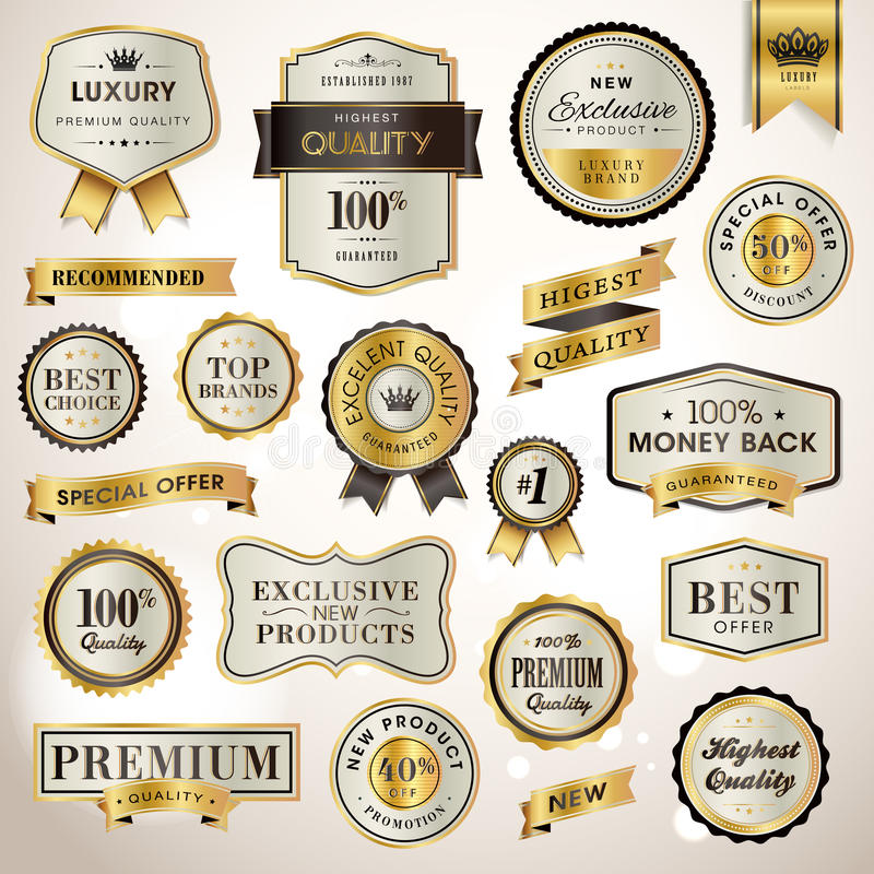Set luxury labels and ribbons royalty free illustration