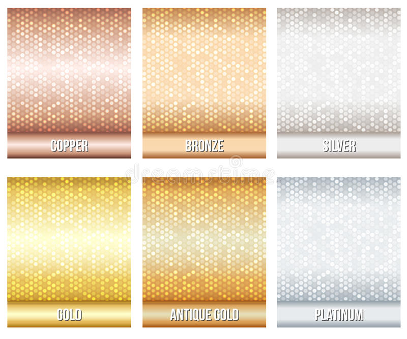 Set of luxury metallic backgrounds royalty free illustration