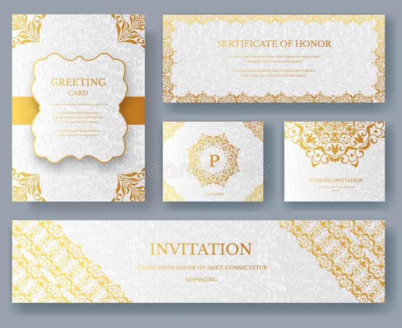 Set Of Luxury Ramadan Gold Artistic Pages With Logo Brochure