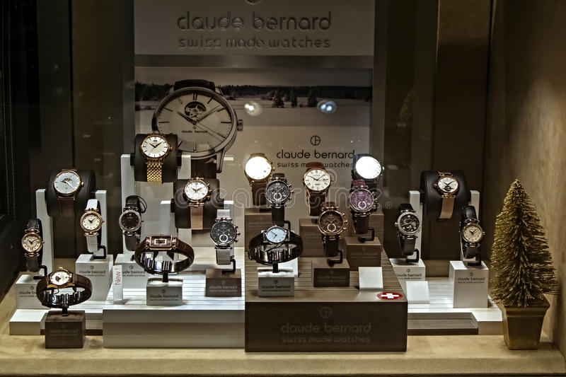 Set of luxury watches. Set of modern luxury brand watches Claude Bernard. Exhibited in the shop window royalty free stock photography