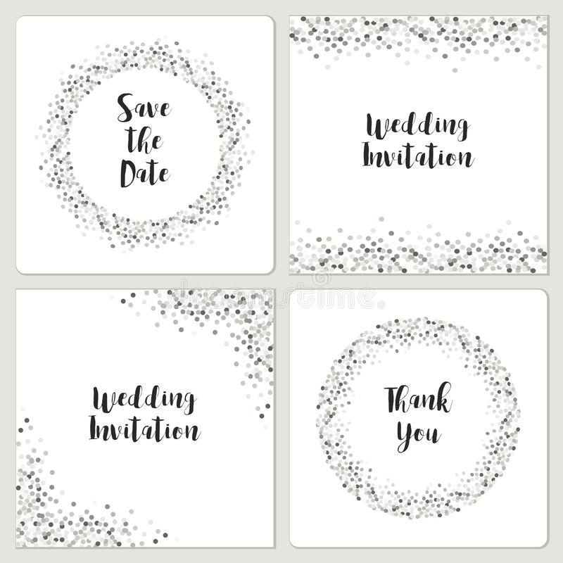 Set of luxury wedding card templates with silver glitter confetti royalty free illustration